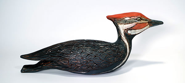 Annette ten Cate - Pileated Woodpecker - ceramics