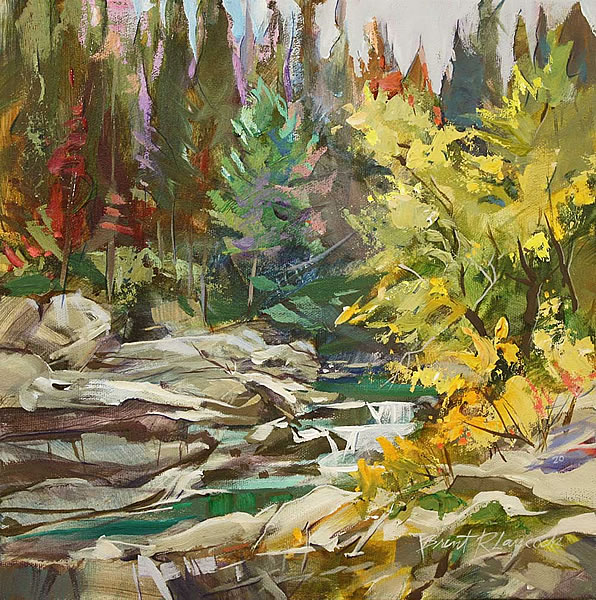 Brent Laycock - Fall Colours at Cameron Creek - 12x12in acrylic