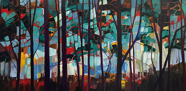 Rhythmic Forest II 15x30 acrylic on canvas