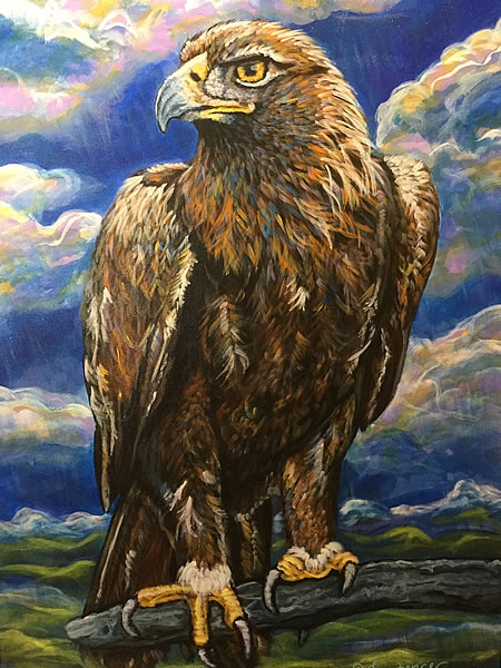 Danin Lawrence - Golden Eagle - 24x36in acrylic on canvas