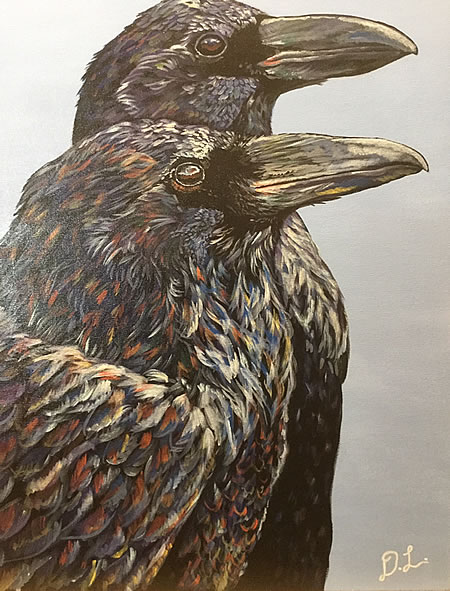 Danin Lawrence - Ravens - 18x24in acrylic on canvas