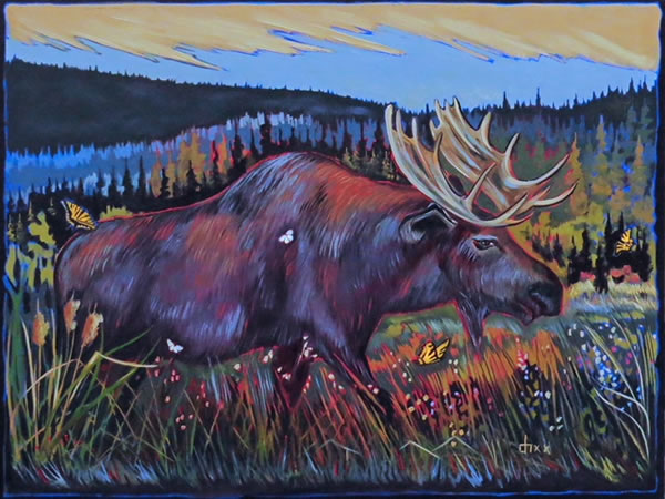 Don Hamm - Blue Moose - 36x48in oil on canvas