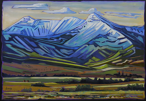 Don Hamm - Waterton, Patterned Hills - 29x36in oil on canvas