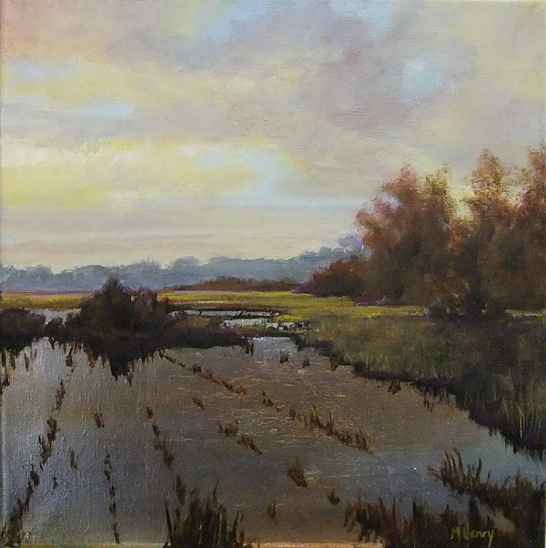 Flooded Fields #2 12x12 acrylic and gilded silver