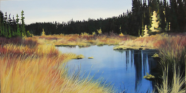 Wetlands, On a Clear Day 18x36 acrylic